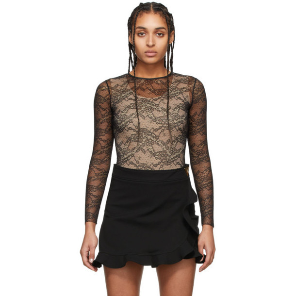 RED Valentino Black Lace Long Sleeve Bodysuit