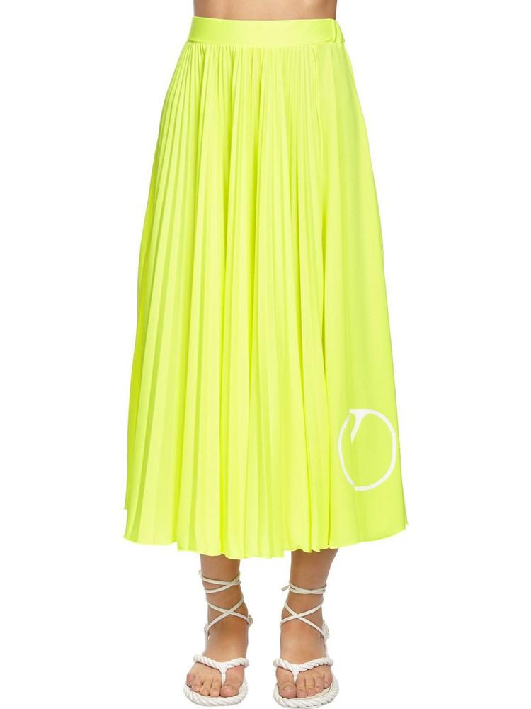 VALENTINO Pleated Go Logo Midi Skirt in yellow