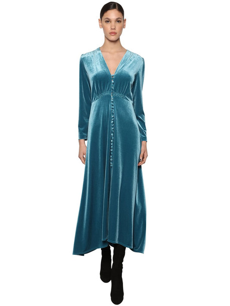 LUISA BECCARIA Button Down Flared Velvet Midi Dress in blue