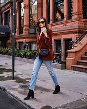 jacket,blazer,double breasted,black boots,ankle boots,heel boots,ripped jeans,straight jeans,high waisted jeans,black bag,gucci bag,white turtleneck top,black sunglasses