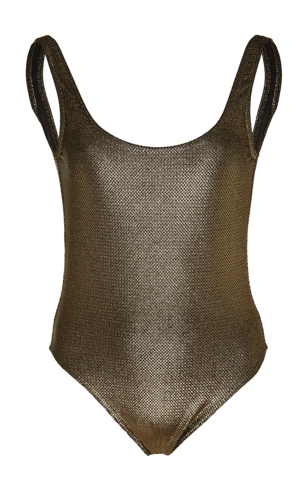Marie France Van Damme Milady Nageur Metallic Swimsuit Size: 2 in gold