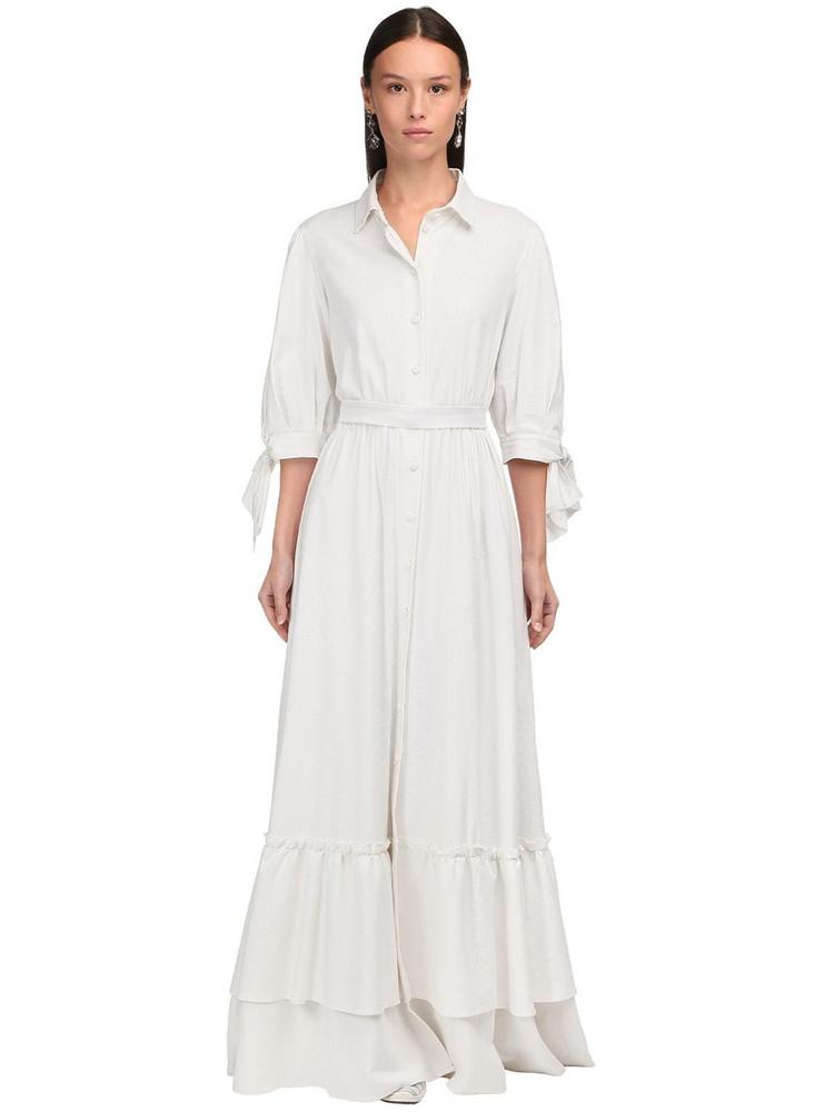 LUISA BECCARIA Button-up Linen Gauze Long Shirt Dress in ivory