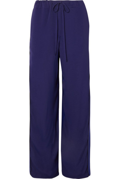 Haider Ackermann - Two-tone Crepe And Silk-satin Pants - Blue