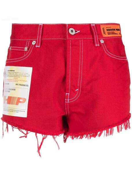 Heron Preston logo-patch denim shorts - Red