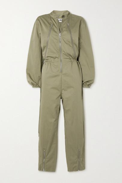 MM6 Maison Margiela - Zip-detailed Cotton Jumpsuit - Green