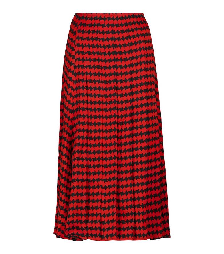 Victoria Beckham Houndstooth pleated midi skirt