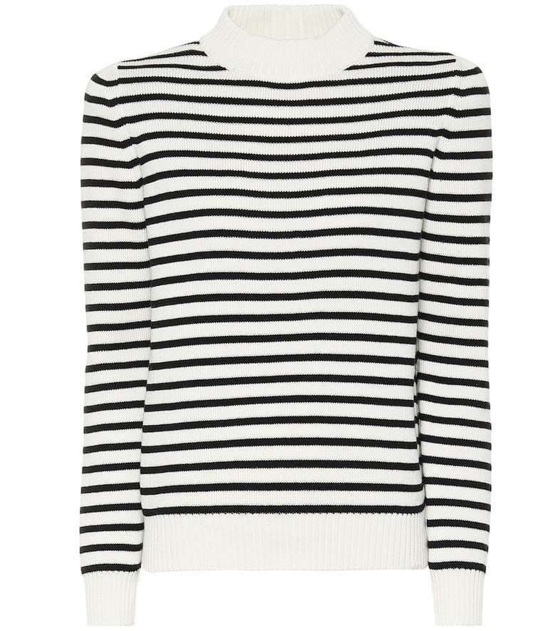 Saint Laurent Striped cotton and wool sweater in white