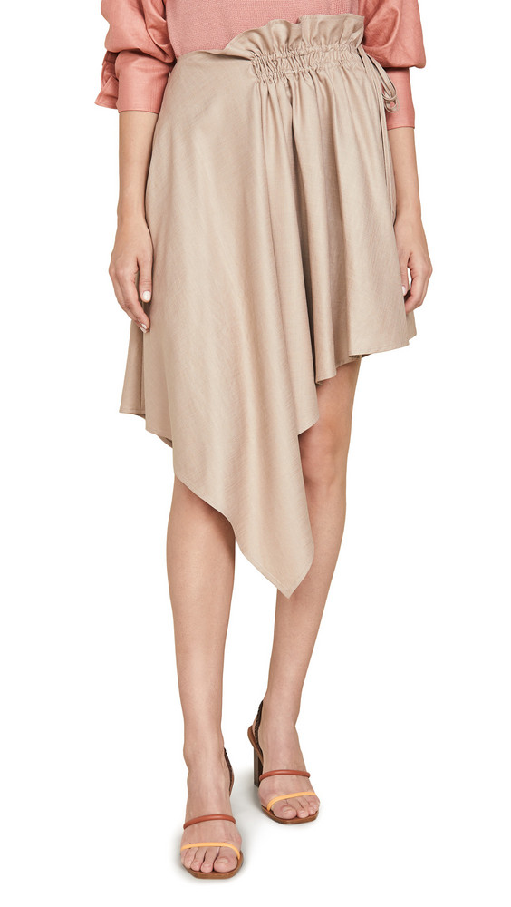 Adeam Ruched Scarf Skirt in sand