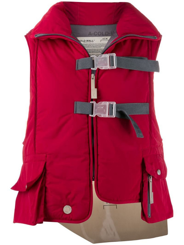 A-COLD-WALL* Step Front padded vest in red