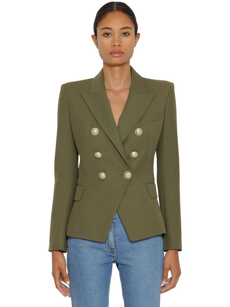 BALMAIN Grain De Poudre Double Breasted Blazer in green