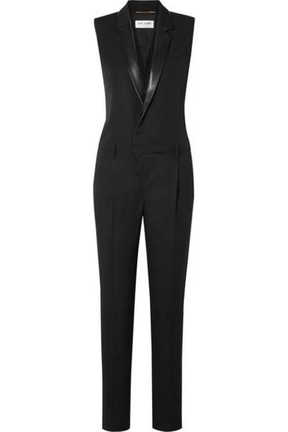 Saint Laurent - Leather-trimmed Grain De Poudre Wool Jumpsuit - Black