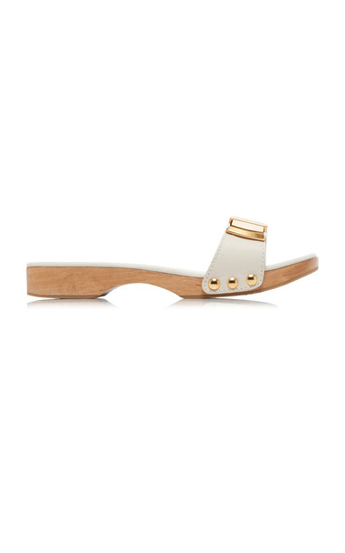 Jacquemus Les Tatanes Leather Slide Sandals Size: 36 in white