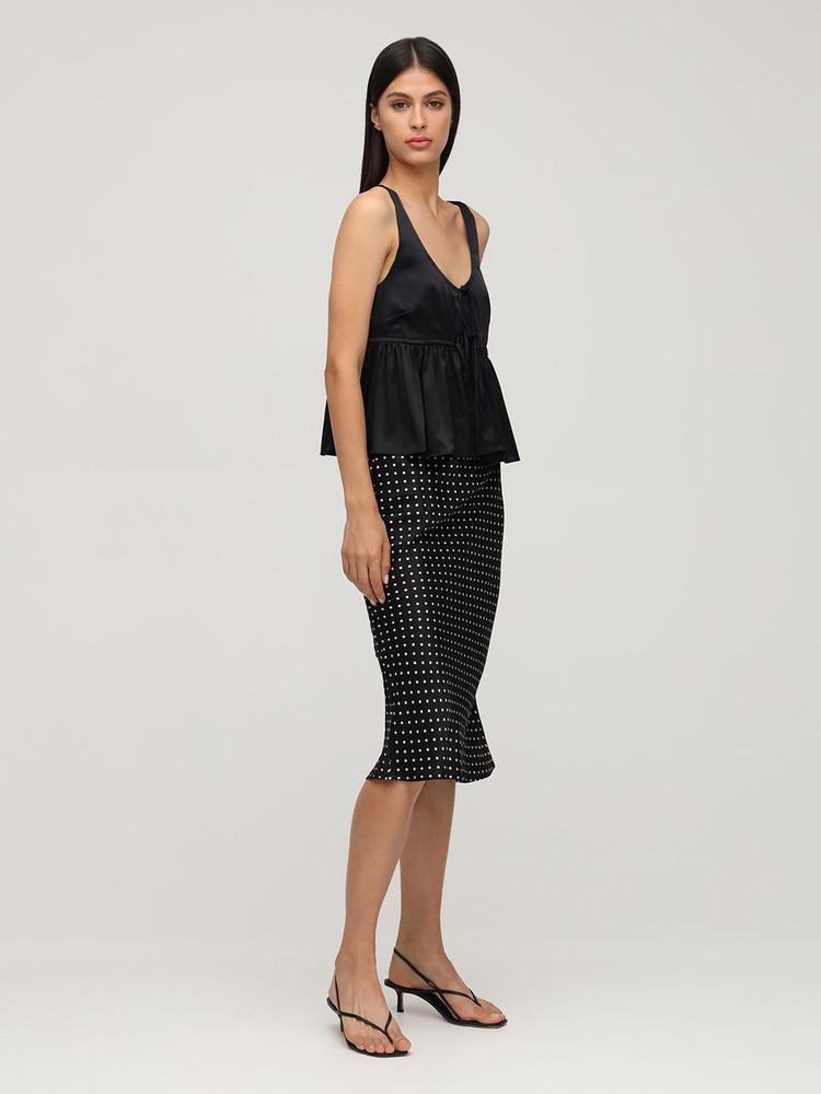CIAO LUCIA Rocco Silk Blend Crop Top W/ Peplum in black