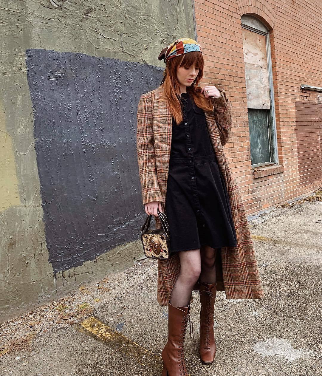 dress black dress brown boots lace up boots plaid long coat handbag