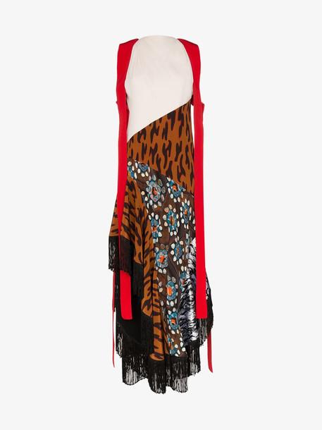 Mugler halterneck cheetah print silk dress