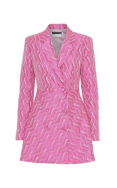 ROTATE Double-Breasted Textured Jacquard Mini Blazer Dress Size: 34