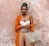 pants,orange printed pants