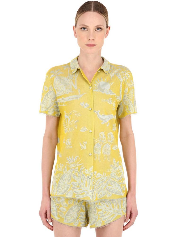 ALANUI Hawaiian Dream Jacquard Shirt in yellow