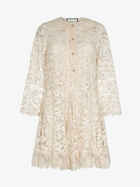 Gucci collared lace silk mini dress in neutrals
