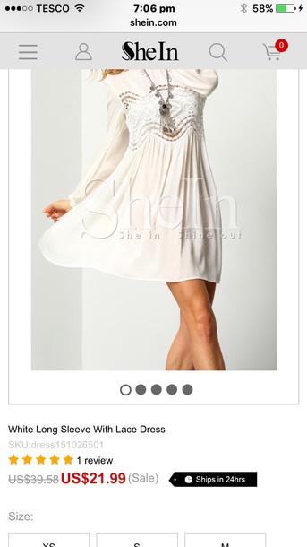dress white gypsy boho  dress s