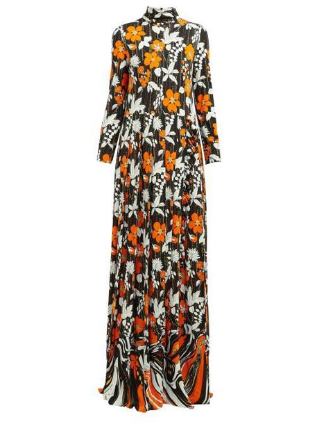 Prada - Floral Print High Neck Organza Dress - Womens - Orange