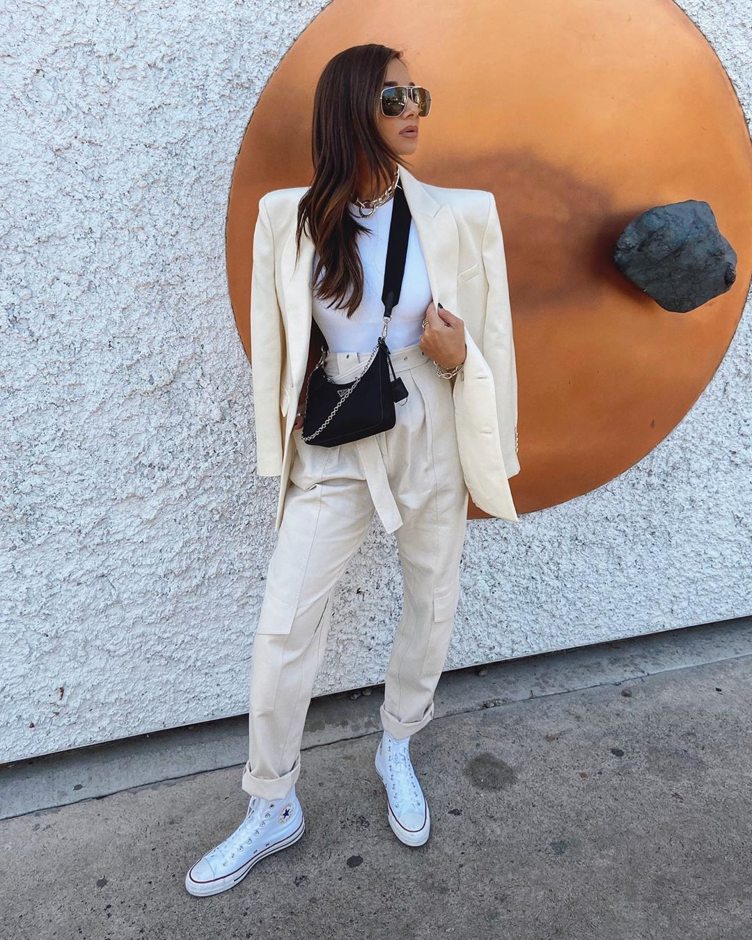 pants high waisted pants converse sneakers blazer white top black bag