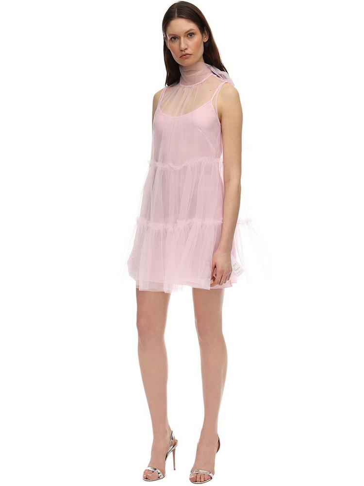 BROGNANO Ruffled Tulle Mini Dress in pink