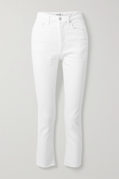 AGOLDE - Riley Frayed High-rise Straight-leg Jeans - White