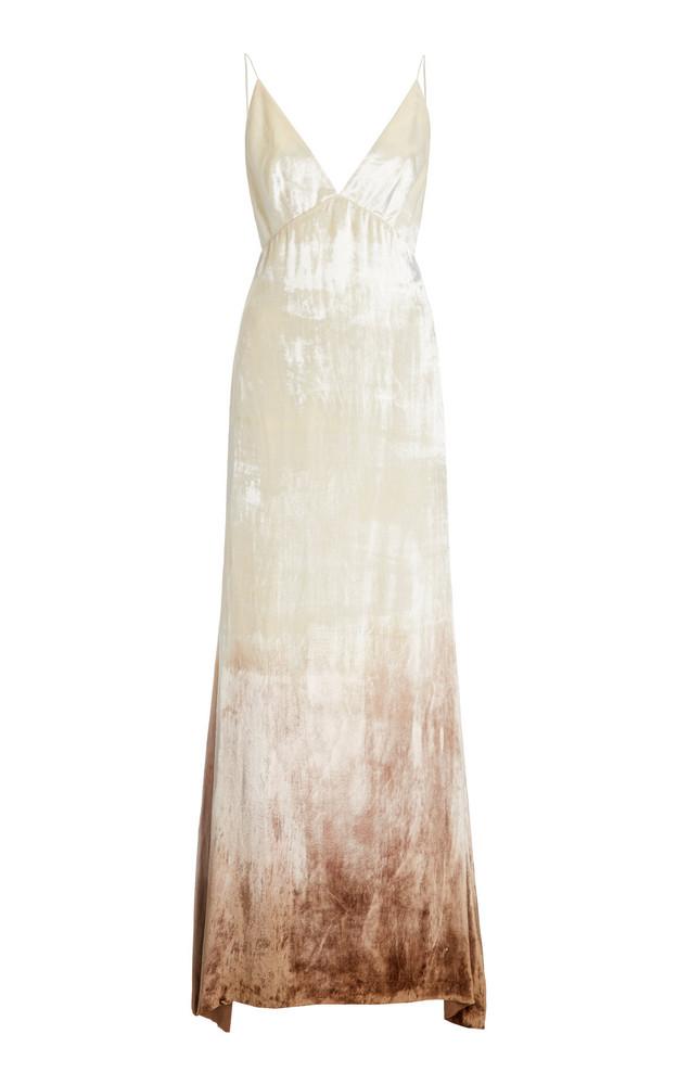 Danielle Frankel Imogen Ombré Velvet Gown in white