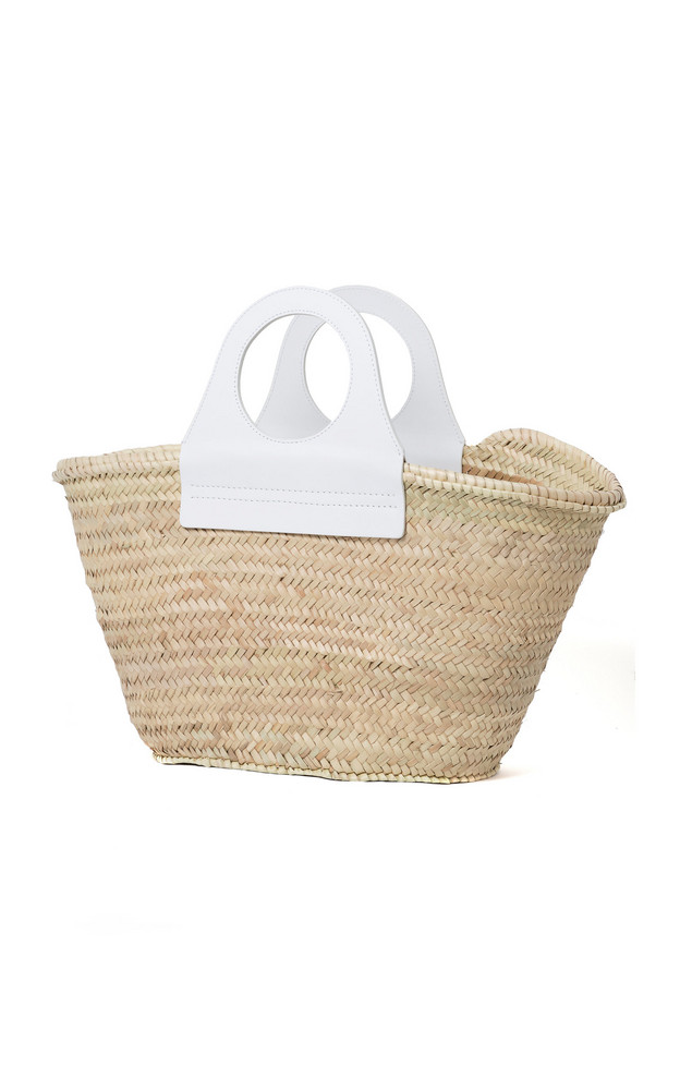 Hereu Cabas Medium Leather-Trimmed Straw Tote in white