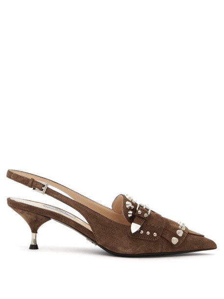 Prada - Studded Fringe Suede Slingback Pumps - Womens - Brown