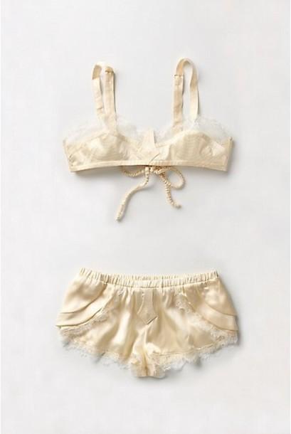 underwear pale shorts pajamas satin bralette bra yellow beige sleepwear anthropologie