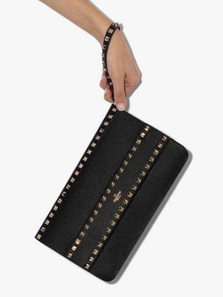 Valentino Black Garavani Rockstud Leather Clutch Bag