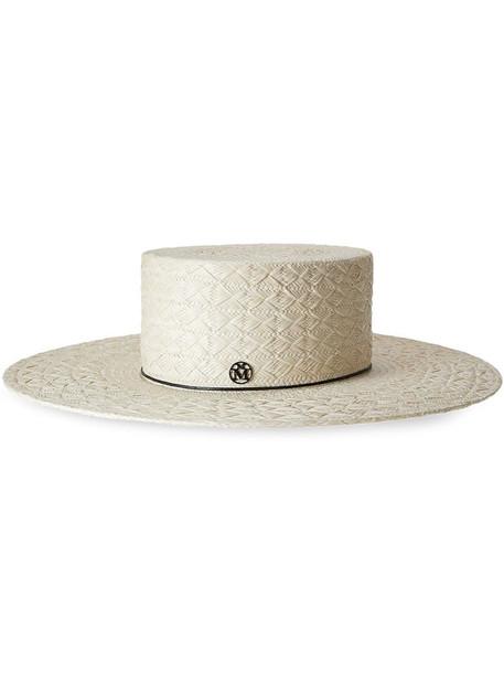 Maison Michel Lana straw fedora hat in neutrals