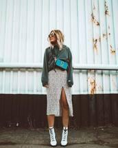skirt,midi skirt,slit skirt,high waisted skirt,white boots,lace up boots,hoodie,crossbody bag