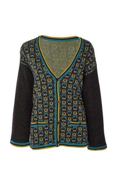 Anna Sui Print-Blocked Tweed Knit Cardigan Size: M/L in multi