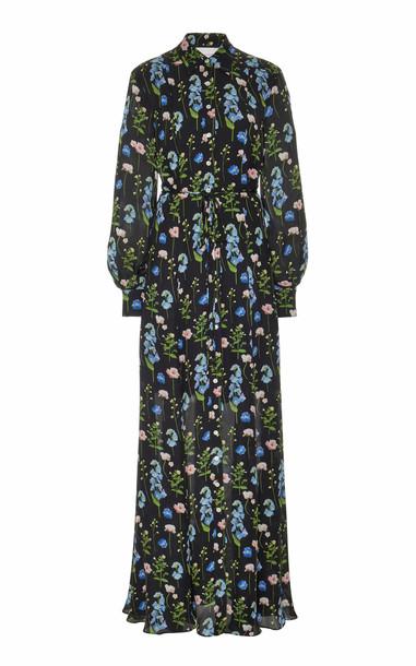 Carolina Herrera Long Sleeve Printed Shirt Gown Size: 0 in black