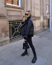 jacket,shearling jacket,black boots,black jeans,black bag