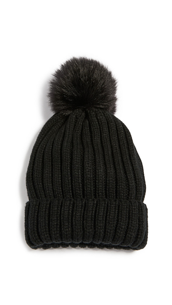 Adrienne Landau Acr. Knit Hat with Pom in black