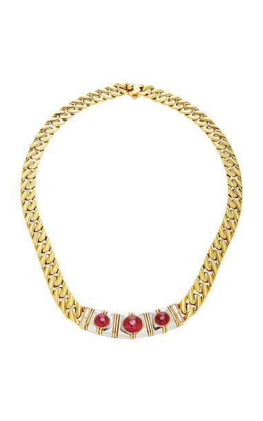 Eleuteri Vintage Bulgari 18K Yellow Gold, Ruby and Diamond Necklace