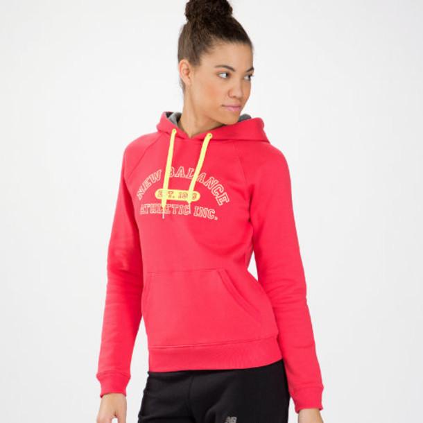 New Balance 3391 Women's Essentials Pullover Hoodie - Ruby, Heather Grey (WET3391RUB)
