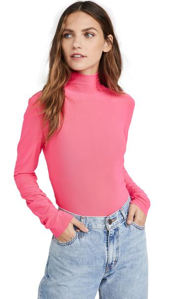 endless rose Mesh Turleneck Long Sleeve Tee in pink