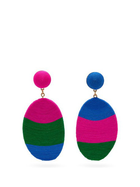 Maryjane Claverol - Rondinone Mismatched Corded Clip Earrings - Womens - Pink