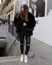 pants,leather pants,black pants,white sneakers,black coat,faux fur coat,black top,black bag