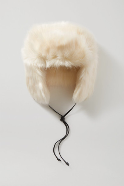 Eugenia Kim - Owen Leather-trimmed Faux Fur Hat - White