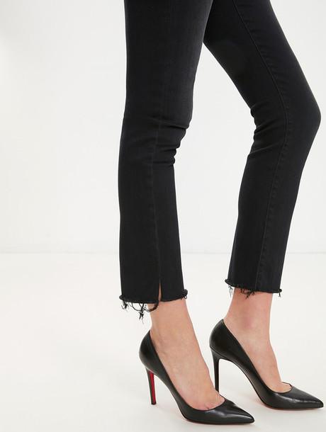jeans frayed denim straight jeans black jeans