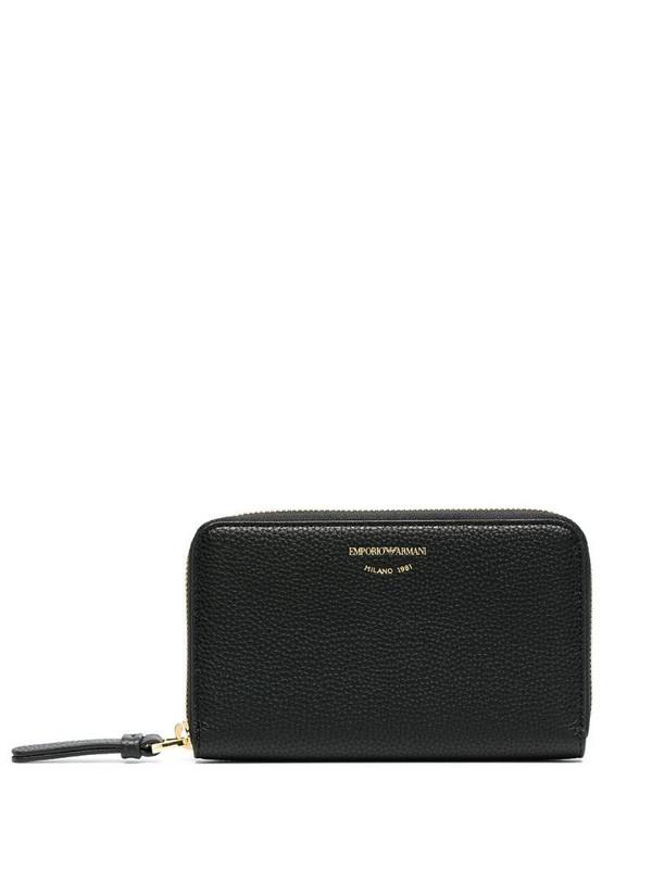 Emporio Armani logo-print leather purse in black