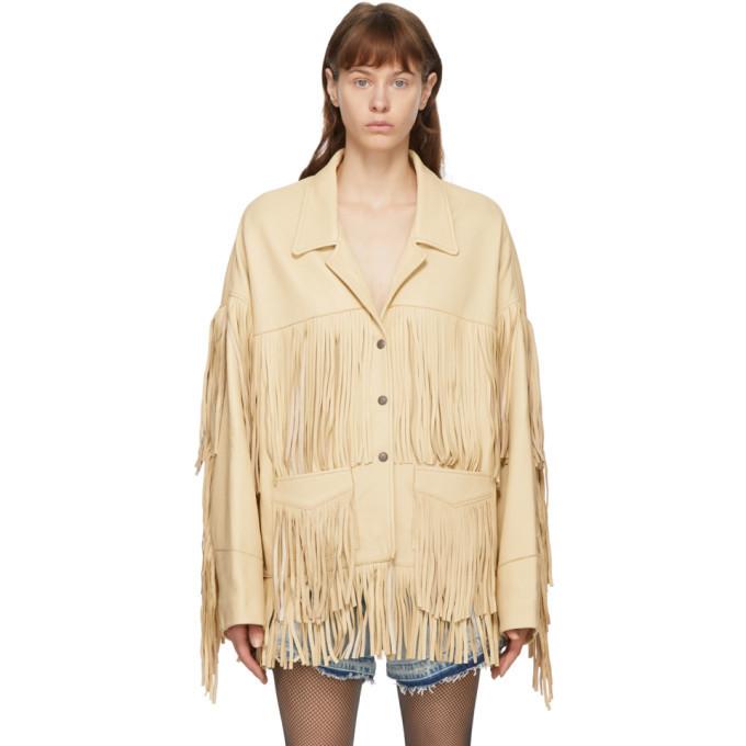 R13 Off-White Deerskin Fringe Jacket in beige