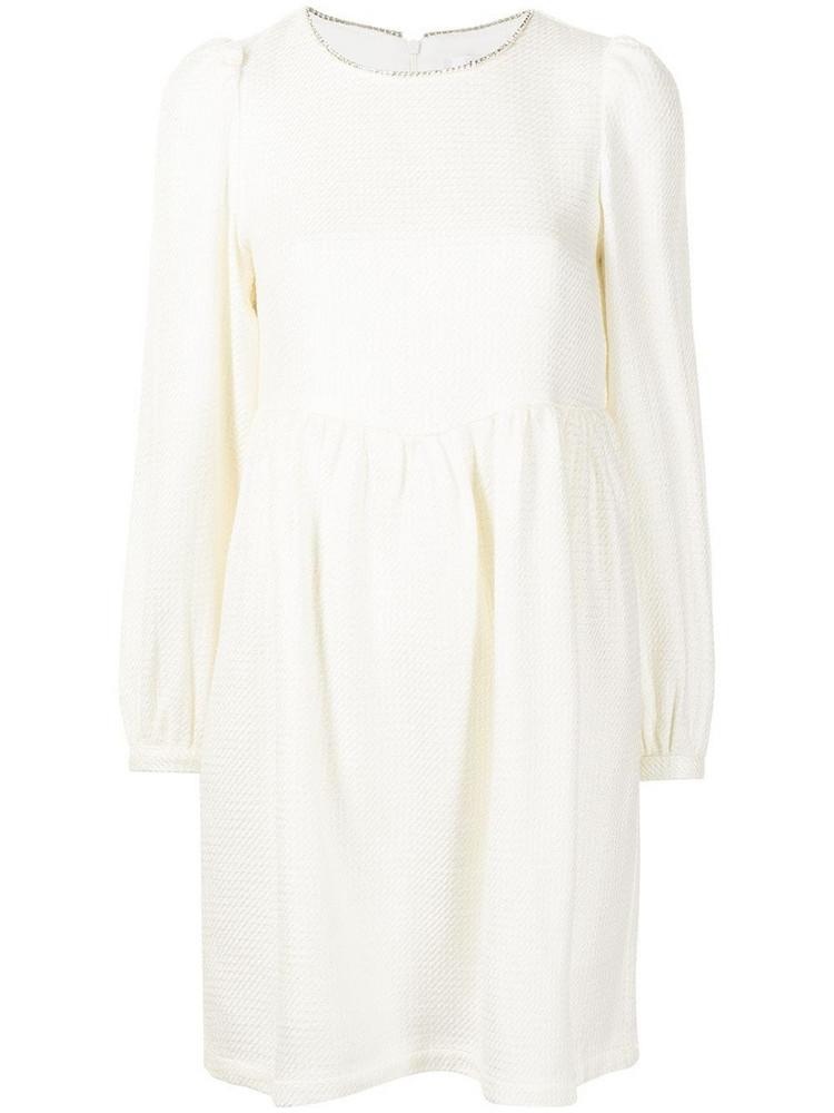 b+ab b+ab embellished neckline skater dress - White