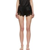 shorts,lace,black,satin